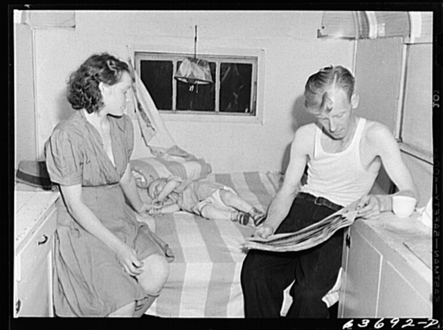 Defense worker and family in their trailer home. Oak Grove trailer park, outskirts of Detroit, Michigan