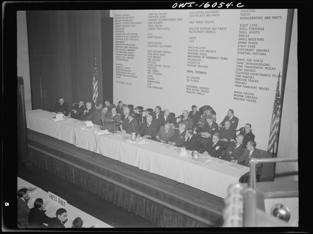 Detroit, Michigan. Roster of speakers and well-known automobile production men at an early meeting of the Automobile Council for War Production