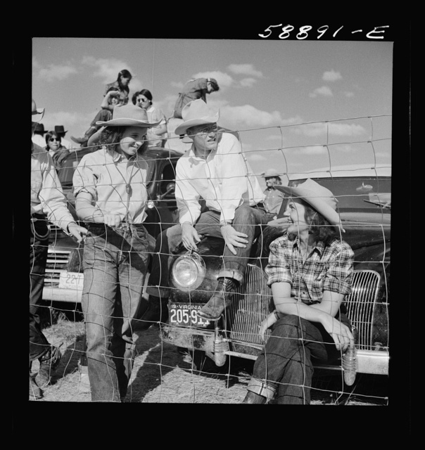 Dudes from Quarter Circle U Ranch at Crow Indian fair. Crow Agency, Montana