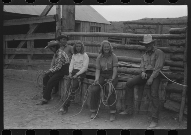 """Dudes learning how to throw a rope, """"roping"""" during a ranch rodeo contest. Brewster Arnold Quarter Circle U Ranch, Birney, Montana"""