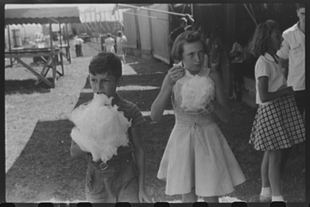 Eating candy floss at a small lodge carnival near Bellows Falls, Vermont