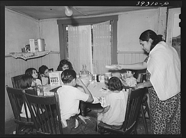 Eight Mexican children eating lunch of tortilla wrapped around chile to form enchiladas, milk and corn flakes. San Diego, California