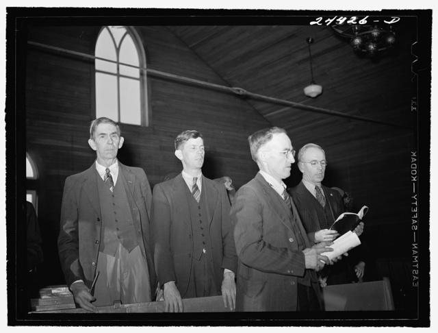 Elders singing hymn at Sunday school, at Baptist church near project.  Dailey, West Virginia