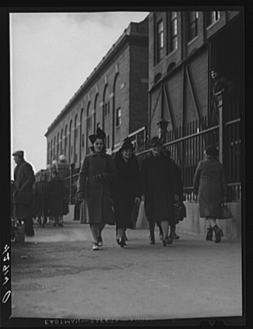 Employees leaving Ayer Mills (textile). Lawrence, Massachusetts