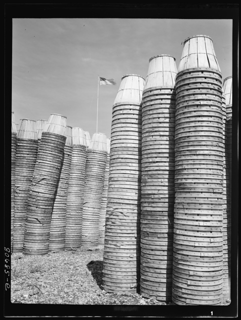 Empty baskets are stored in the yard of the plant until returned to grower. Phillips Packing Company, Cambridge, Maryland