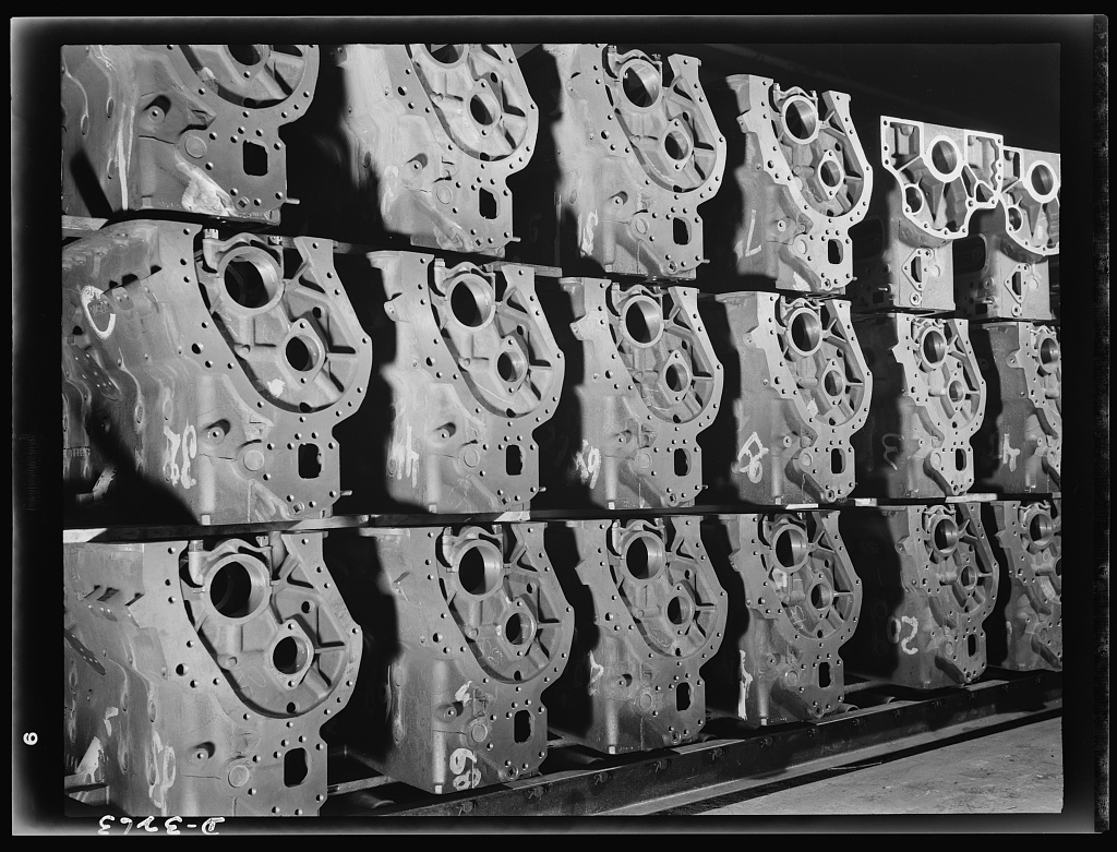 Engine blocks for the Army's new halftrac scout cars. They represent the latest and best thought in automotive foundry and precision machining practice. The large Midwest plant that is turning them out has been making engine blocks for many years for commercial trucks. White Motor Company, Cleveland, Ohio