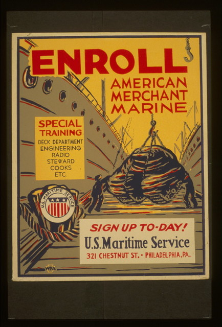 Enroll American Merchant Marine Special training - deck department, engineering, radio, steward, cooks, etc. : Sign up to-day!