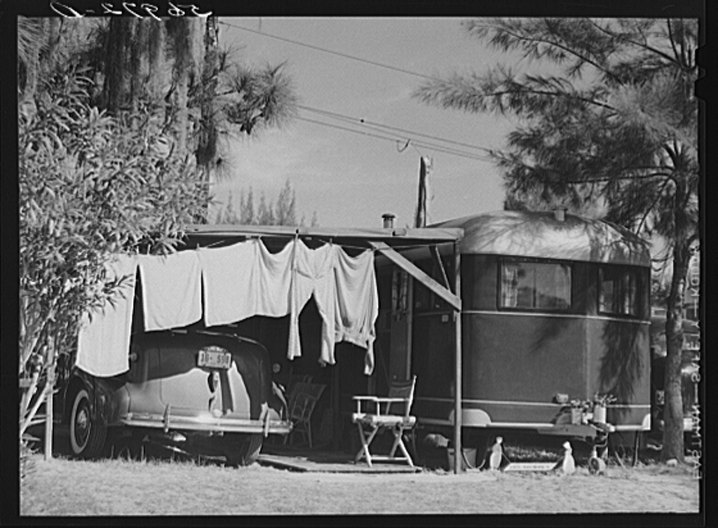 Family wash outside of trailer home. Sarasota trailer park, Sarasota, Florida