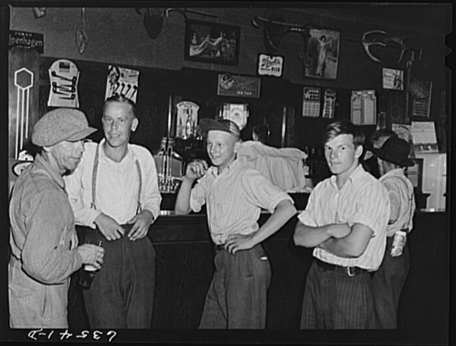 Farm boys in beer parlor on Sunday afternoon. Finnish community of Bruce Crossing, Michigan