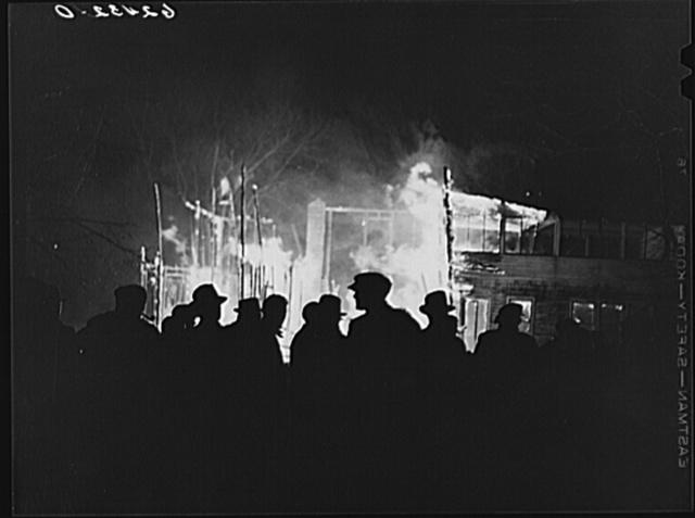 Farmhouse burning along U.S. Highway No. 113. Near Milford, Delaware