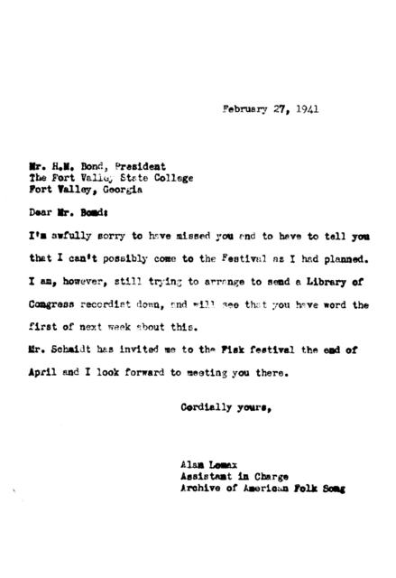 February 27, 1941, letter from Alan Lomax to H.M. Bond