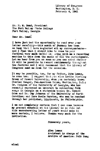 February 4, 1941, letter from Alan Lomax to H.M. Bond
