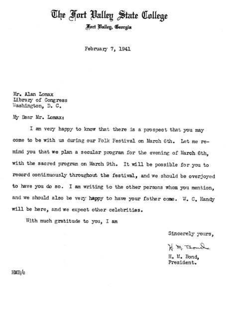 February 7, 1941, letter from H.M. Bond to Alan Lomax