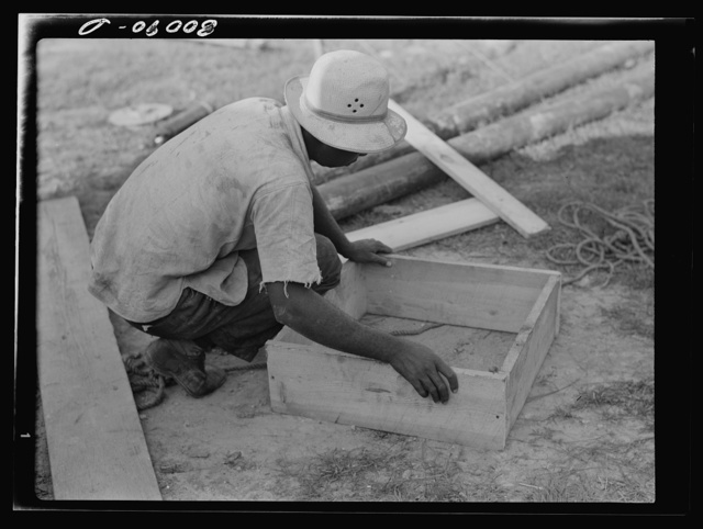 Form for pouring concrete cap for culvert pipe. Safe well demonstration near La Plata, Maryland. Charles County