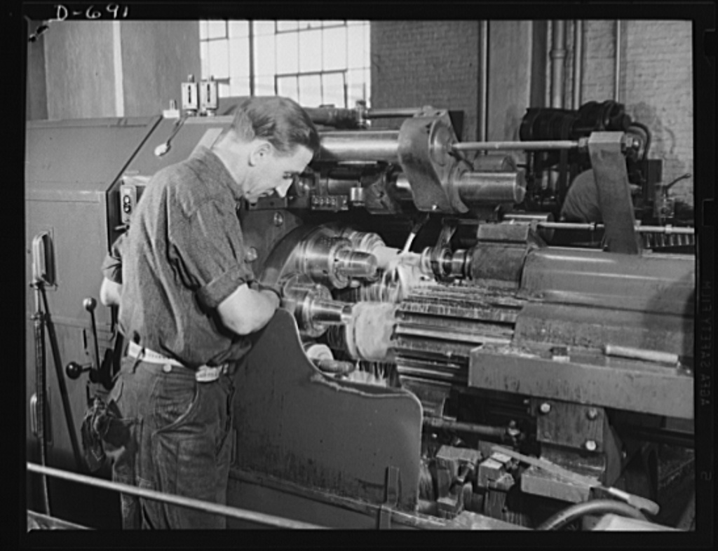 Frankford Arsenal. Turning shell parts on a turret lathe
