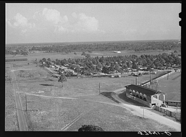 General view of Sarasota trailer park alongside baseball park. Sarasota, Florida