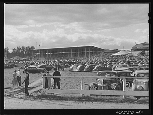 Grandstand and parked cars at the Rutland Fair. Vermont