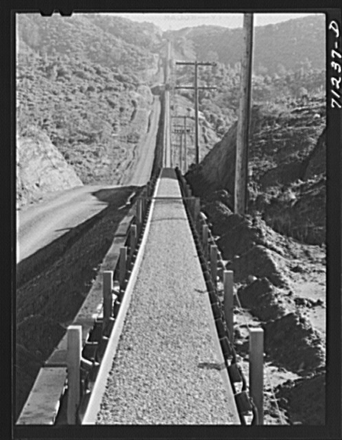 Gravel conveyor belt. Shasta Dam. Shasta County, California