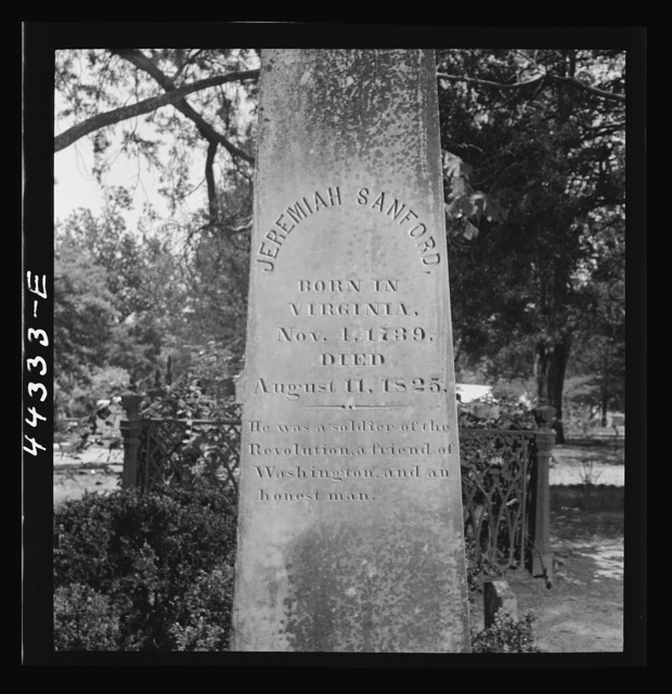 Gravestone of an early Virginian settler of Greene County, Georgia
