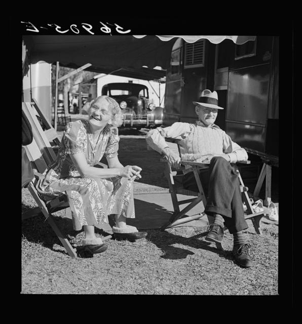 Guests at Sarasota trailer park. Sarasota, Florida