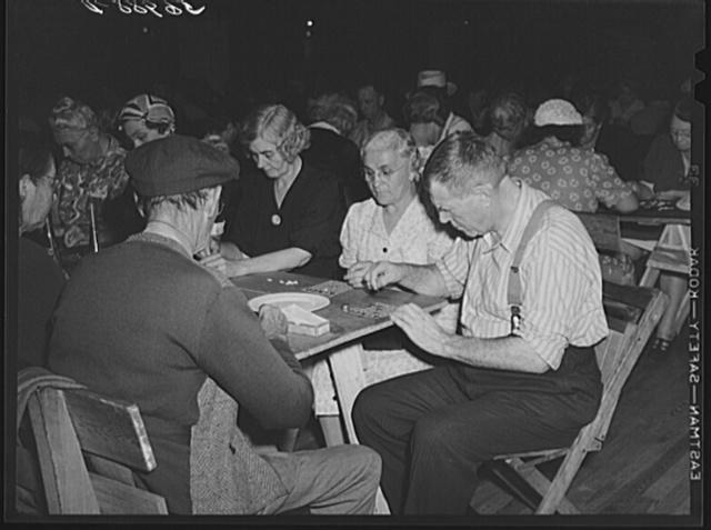 """Guests at Sarasota trailer park, Sarasota, Florida, playing """"bingo"""""""