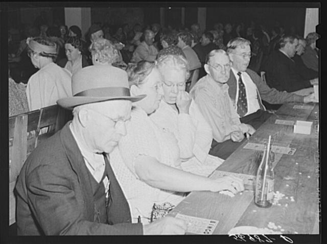 """Guests of Sarasota trailer park, Sarasota, Florida, enjoying a few games of """"bingo"""""""