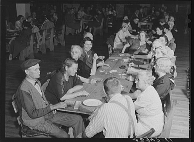 """Guests of Sarasota trailer park, Sarasota, Florida, enjoying an evening of """"bingo"""""""