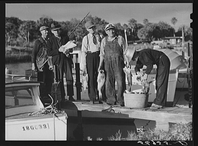 Guests of Sarasota trailer park, Sarasota, Florida, with fish they had just caught