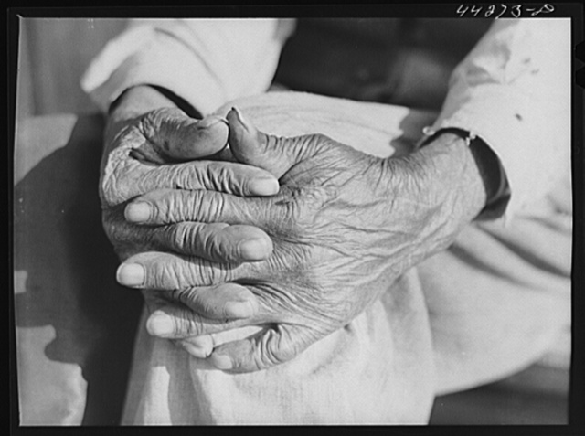 Hands of Mr. Henry Brooks, ex-slave. Parks Ferry Road, Greene County, Georgia