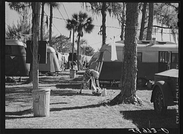 Hanging up the washing, Sarasota trailer park. Sarasota, Florida