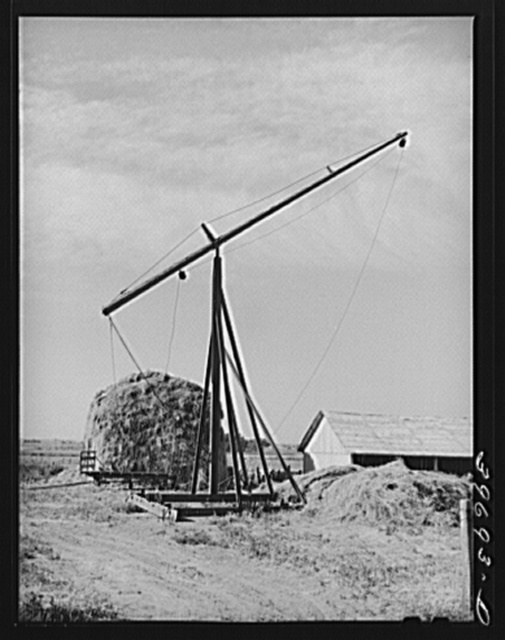 Hay stacker and hay stack on farm of member of the Dairymen's Cooperative Creamery. Caldwell, Canyon County, Idaho