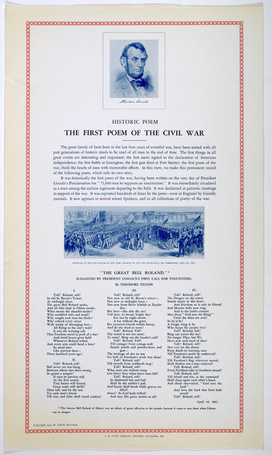 """Historic poem. The first poem of the civil war. """"The Great bell Roland."""" Suggested by President Lincoln's first call for volunteers. By Theodore Tilton. Baltimore, Md. J. H. Furst company, printers. 1941."""