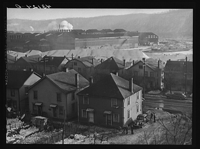 Houses and Pittsburgh Crucible Steel Company in Midland, Pennsylvania