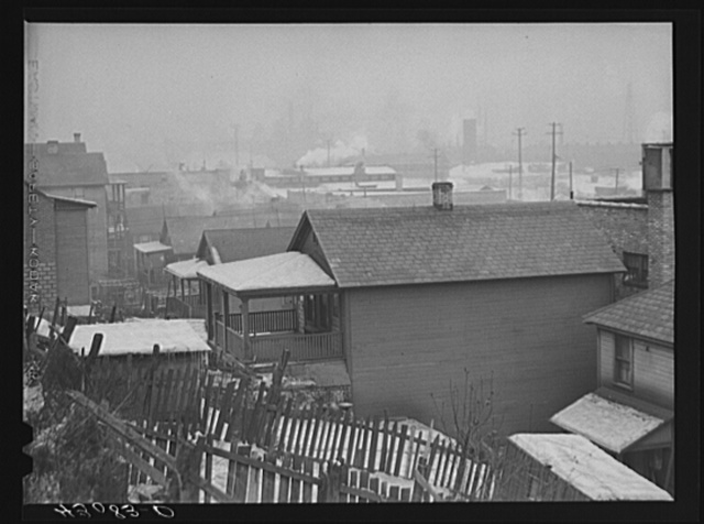 Houses and steel mill in Aliquippa, Pennsylvania