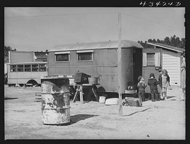 In a trailer settlement of migrants working at Fort Bragg. Near Fayetteville, North Carolina