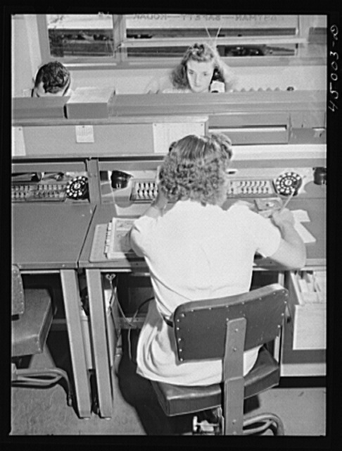 In the ticket reservations department of one of the airlines. Washington, D.C. municipal airport