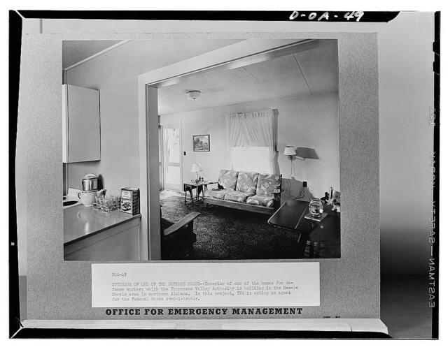 Interior of one of the defense homes. Interior of one of the homes for defense workers which the Tennessee Valley Authority is building in the Muscle Shoals area in northern Alabama. In this project, the TVA is acting as agent for the Federal Works Administrator