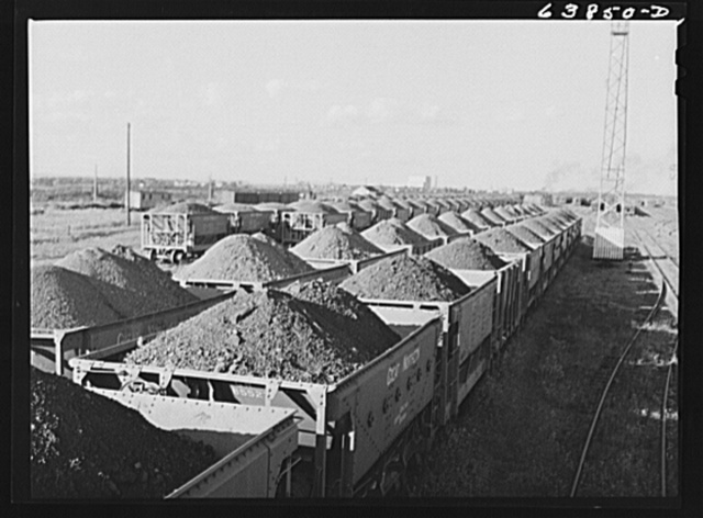 Iron ore from the Minnesota range in the Great Northern Railroad yards. Superior, Wisconsin