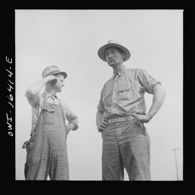 Jackson, Michigan. Soldier who was granted a furlough to help with the harvesting on this farm, and farmer watching the threshing