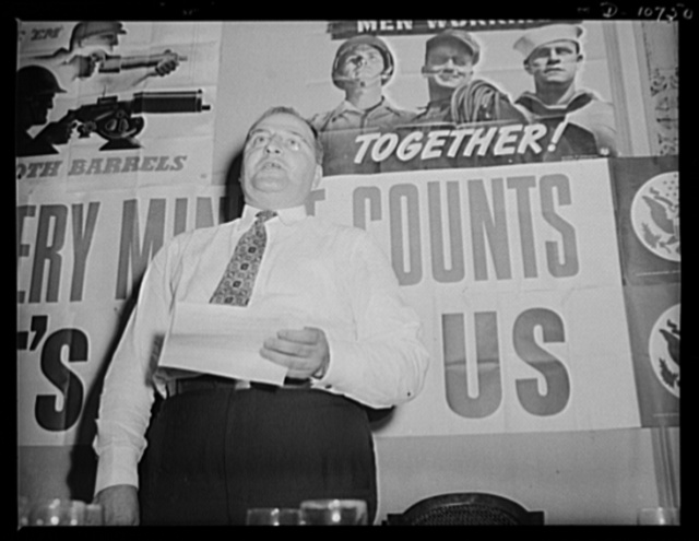 J.F. Kershetsky, District President of the United Mine Workers of America (UMW), speaking before labor-management committee members at Pottsville, July 30th