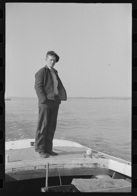 Jim Johnson, a young fishing boat captain. Rock Point, Maryland
