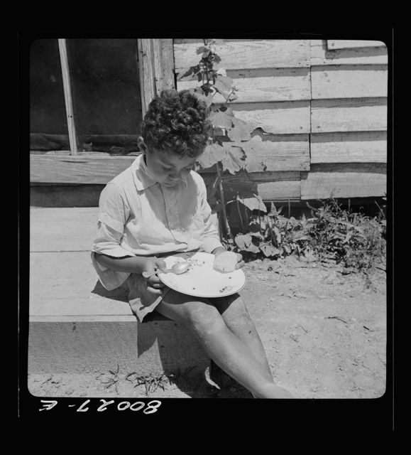 John Fredrick's son eating his lunch in the sun. Charles County, Maryland, near La Plata, Maryland