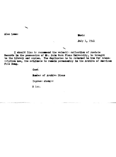 July 1, 1941, draft of memo by Alan Lomax regarding the duplication of acetate disks recorded by John Work