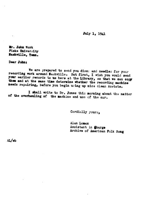 July 1, 1941, letter from Alan Lomax to John Work