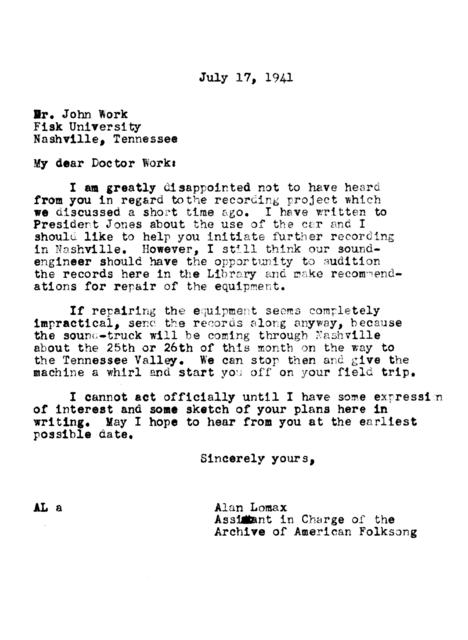 July 17, 1941, letter from Alan Lomax to John Work