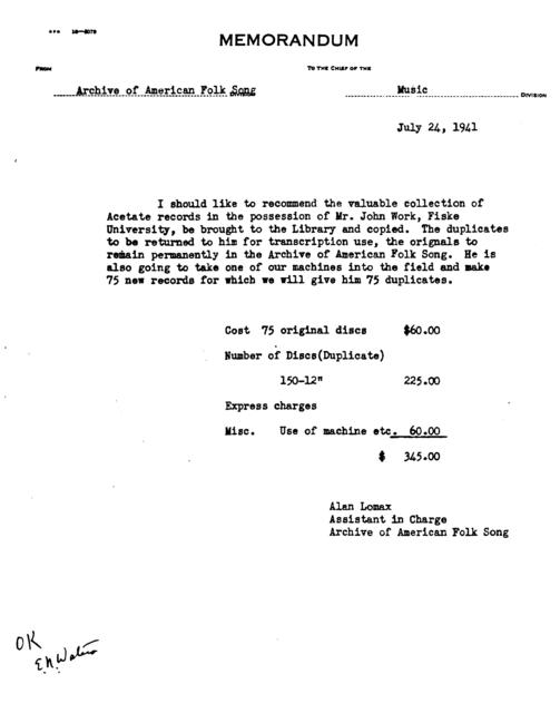 July 24, 1941, memo by Alan Lomax regarding the duplication of acetate disks recorded by John Work