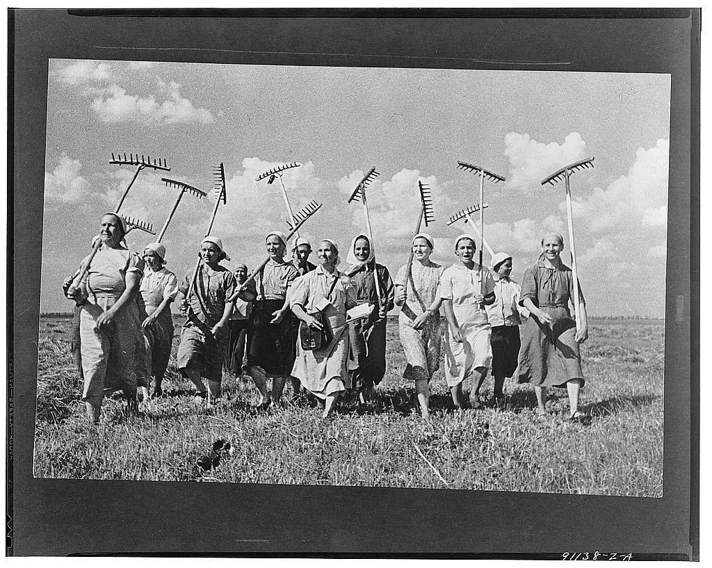 Klishevo collective farm, near Moscow, USSR (Union of Soviet Socialist Republics). A group of women collective farmers replace the men who have left for the front