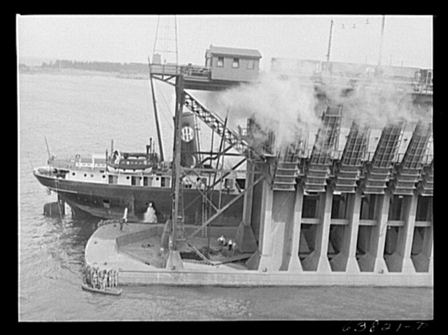 Lake boat pulling into ore docks at Allouez, Wisconsin