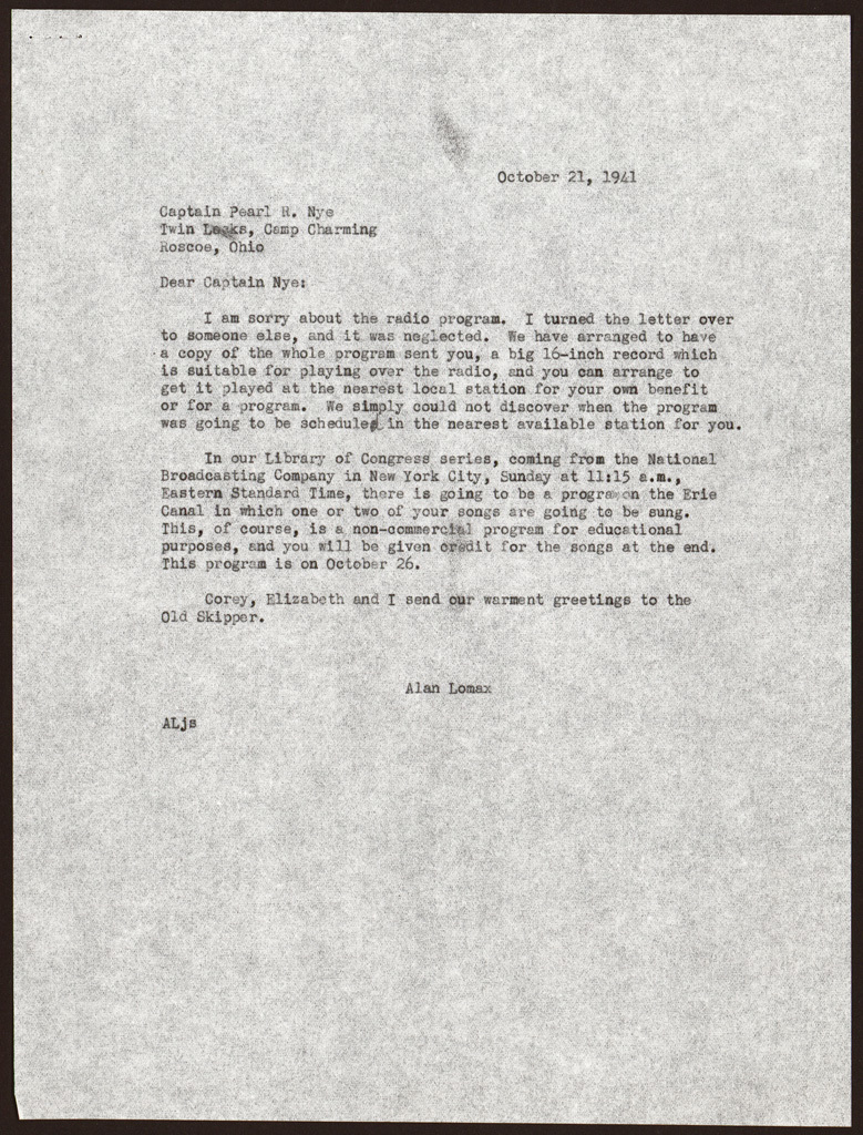 Letter from Alan Lomax to Pearl R. Nye, October 21, 1941