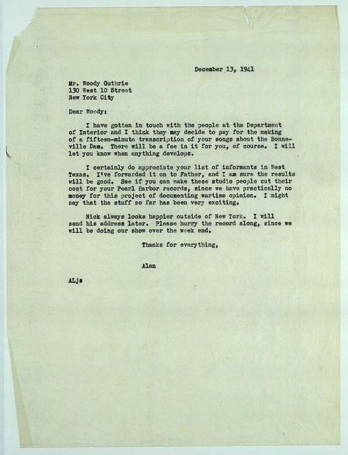 Letter from Alan Lomax to Woody Guthrie, December 13, 1941